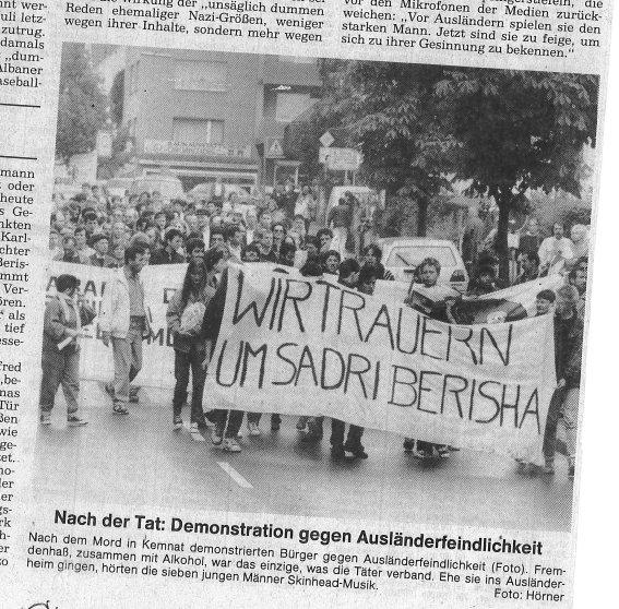 Demo nach Mord an Berisha, Sadri