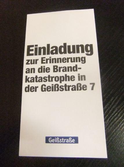 Gedenken 20. Jahrestag Geissstraßen-Brand
